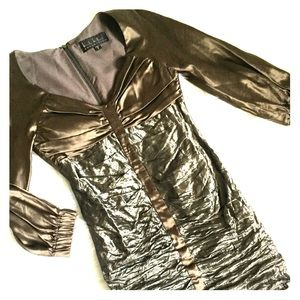 Nicole Miller Metallic Ruched Dress